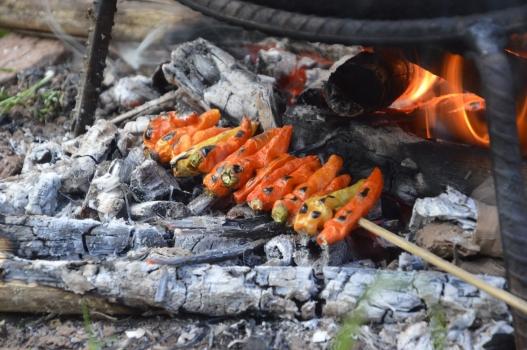 Roasting chillies